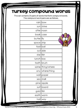 Turkeys Activity: Turkey Compound Words Game and Puzzle Cards