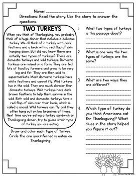 Turkey Comprehension Activities