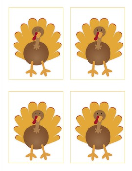 Turkey Concentration Matching Game FREEBIE