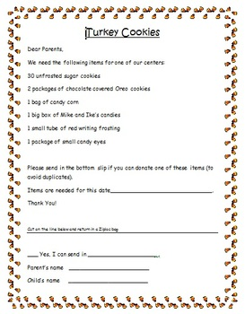 Turkey Cookie Parent Supply Note FREE