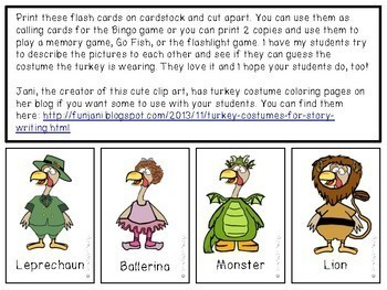 Turkey Costumes Bingo (Freebie)
