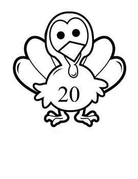 Turkey Count #'s 1-20 Activities