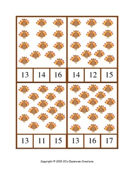 Turkey Count, Color and Word Match Activities