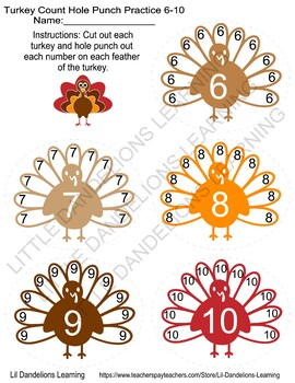 Turkey Count Hole Punching Practice (1-10 included)
