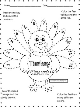 "Thanksgiving Math ""Counting 1 to 12""(Worksheet)"
