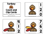 Turkey Count and Clip Preschool Cards