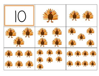 Turkey Count and Match 1-10