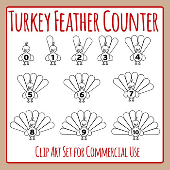 Turkey Counters Feathers - Thanksgiving Clip Art Set for Commercial Use