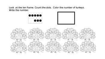 Turkey Counting Book - Writing numbers 1-10, Ten Frames