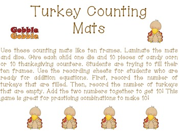 Turkey Counting Ten Frames and Addition