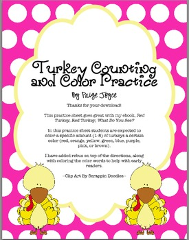 Turkey Counting and Color Practice Sheet