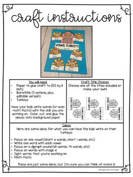 Turkey Craft for Spelling or Phonics Skill (editable title included)