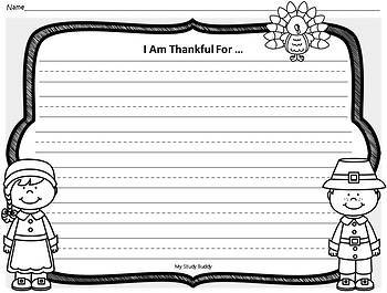 """Turkey Craft with """"I Am Thankful For"""" Writing Page (Thanksgiving Activities)"""