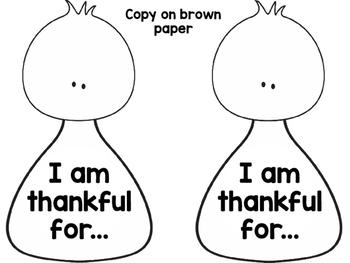 Turkey Craftivity English : I am thankful for