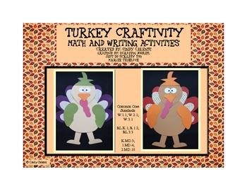 Turkey Craftivity, Math and Writing Activities
