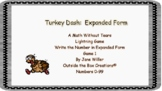Turkey Dash:  Expanded Form  Numbers 0-99 (Game 1)- PDF Version