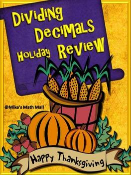Thanksgiving Math Review - Dividing Decimals