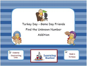Turkey Day - Game Day Find the Missing Number - Addition