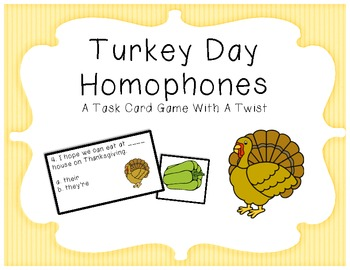 Turkey Day Homophone Task Cards for Thanksgiving, or not