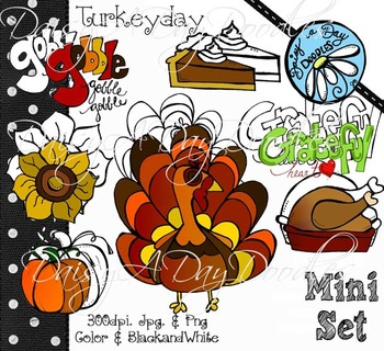 Turkey Day Mini Set - Color and Line Art