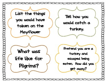 Turkey Day Write All About It - Writing Prompts