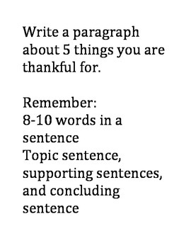 Turkey Day Writing Activity