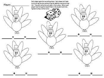 Turkey Dice Number and Addition Game