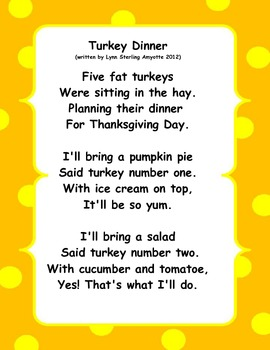 Turkey Dinner    An Original Poem/Skit for Thanksgiving