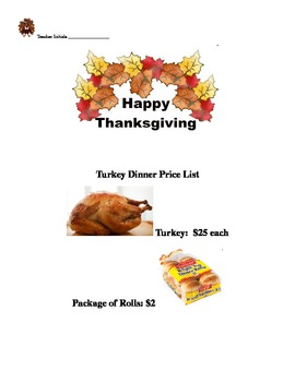 Turkey Dinner - Ratios, Proportions, Percents