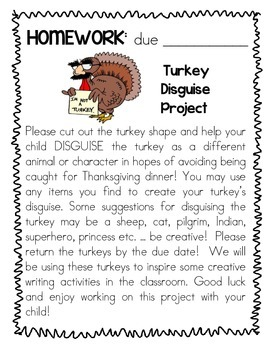 Turkey Disguise Project Homework