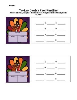 Turkey Domino Fact Family Activity