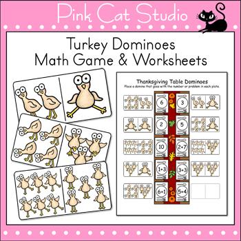 Thanksgiving Math Game - Turkey Dominoes Math Center