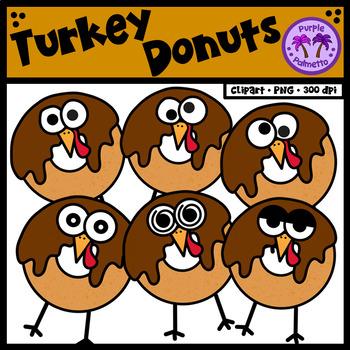 Turkey Donuts/Doughnuts Clipart {Thanksgiving Clipart}