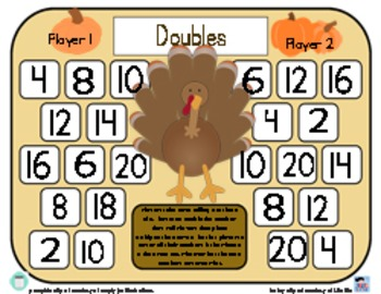 Turkey Doubles - Thanksgiving Doubles Strategy Addition Game - 3 Versions