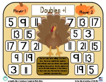 Turkey Doubles Plus One & Near Doubles - Thanksgiving Addition Game - 3 Versions