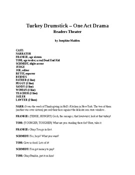 Thanksgiving Drama - Turkey Drumstick - One Act Readers Theater