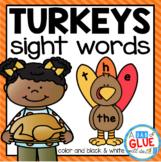 Turkey Editable Sight Word Activity