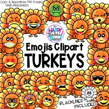 HTP Clip Art Turkey Emojis Watercolor {The Happy Teacher's Palette}