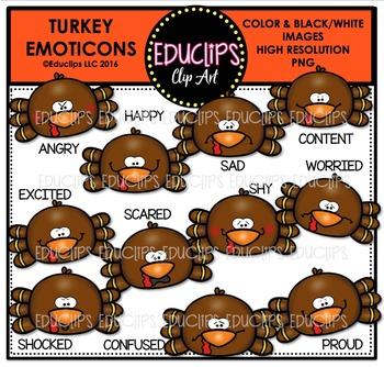 Turkey Emoticons Clip Art Bundle  {Educlips Clipart}