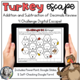 Decimal Add & Subtract Thanksgiving Challenge Digital Esca
