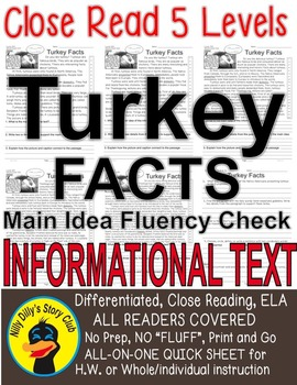 Turkey FACTS Close Read 5 level passages with TDQ's, Fluency check, Main Idea