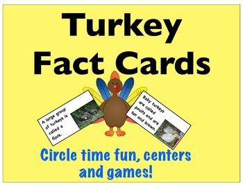 Turkey Fact Cards- Circle Time, Centers & Games