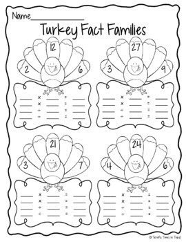 Thanksgiving Turkey Fact Families
