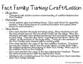 Turkey Fact Family Craftivity