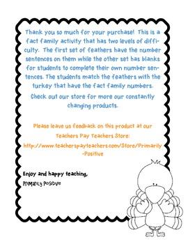 Turkey Fact Family Facts 11-20 Activity