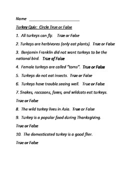Turkey Facts and Quiz