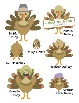 Turkey Family Measuring in Inches and Centimeters