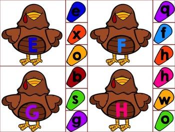 Turkey Feather Alphabet Match N' Clip