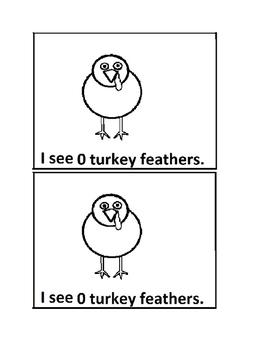 Turkey Feather Counting Emergent Reader book for Preschool or Kindergarten