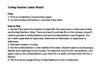 Turkey Feather Letter Match